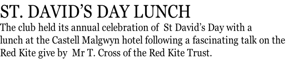 ST. DAVID'S DAY LUNCH